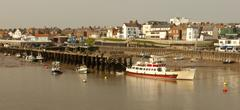 incoming tide bridlington harbour. - stock photo