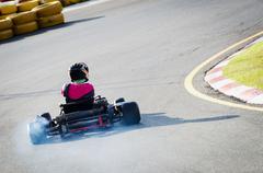 Driver on kart circuit Stock Photos