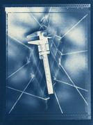 cyanotype calipers - stock photo