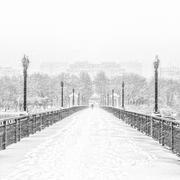 snowy bridge - stock photo