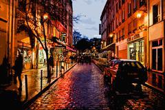 paris night walk - stock photo