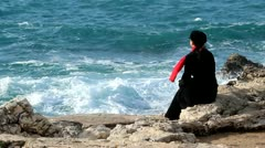 Sea,red scarf and wind Stock Footage