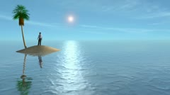 Business Man Marooned on a Desert Island Stock Footage