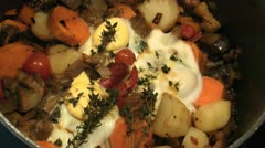Eggs Cook On Ratatouille Close Up Stock Footage
