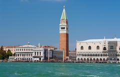 seaview of piazza san marco and the doge's palace - stock photo