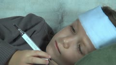 Sick Child, Ill Little Girl Looking, Checking Thermometer, Children Stock Footage
