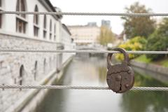 love locks on the fence - stock photo