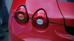 Ferrari in red: Rear lights - stock footage