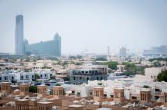 Dubai covered by sand haze Stock Photos