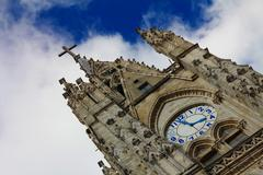 bell tower of the basilica of the national vow, quito. - stock photo