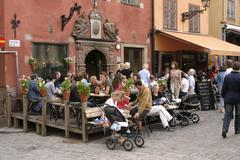 Stockholm old town cafe Stock Photos