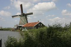 Windmill with red roof Stock Photos