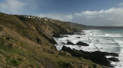 Whitsand Bay seascape, rugged and wild, near Rame Head, Cornwall. - stock footage