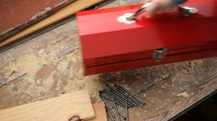 Red tool box Stock Footage