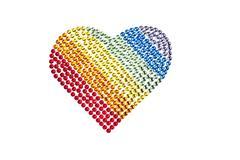 rainbow heart made of rhinestones - stock illustration