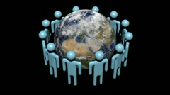 Circle of abstract people around rotating globe animation - stock footage