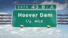 Hoover dam highway road sign Stock Footage