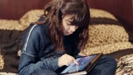 Stock Video Footage of little girl with tablet