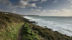 Stock Video Footage of Rame Head, Whitsand Bay sea and coastal footpath, Cornwall.