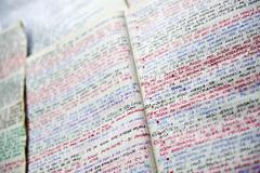 handwriting notebooks - stock photo