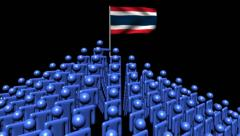 Zooming out from pyramid of men with rippling Thai flag animation Stock Footage
