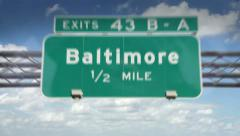 Baltimore, Maryland highway road sign Stock Footage