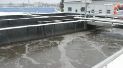 Waste water treatment facility in winter Stock Footage