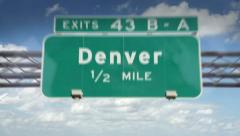 Denver, Colorado highway road sign Stock Footage