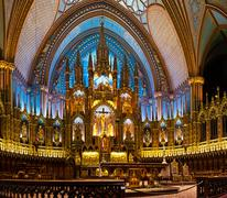 the notre-dame basilica in montreal - stock photo
