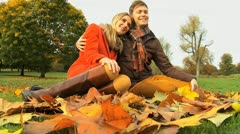 Loving couple Fall time sharing tender moment  - stock footage