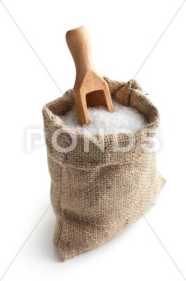 Stock photo of sea salt in jute sack