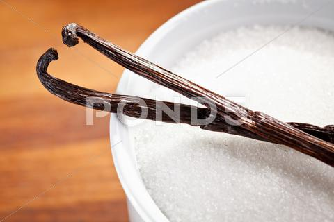 Stock photo of vanilla pods and sugar