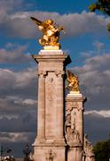 columns of the pont alexandre iii - stock photo