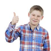 little boy with thumb up - stock photo