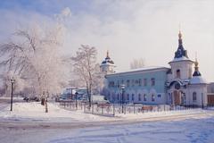 church in winter - stock photo