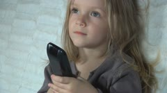 Child Watching TV, Smiling Little Girl Handling Remote Control, Children Stock Footage