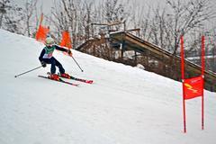 Sportsman in protasov yar during ski competition in kiev, ukraine. Stock Photos