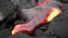 Hawaii lava flow, molten lava closeup Stock Footage