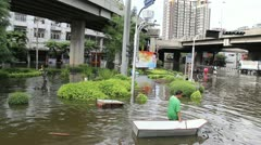 BKK Noi flood 0988 Stock Footage