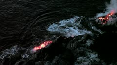 Hawaii lava flow, Kilauea ocean entry Stock Footage