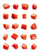 diced tomatoes isolated - stock photo