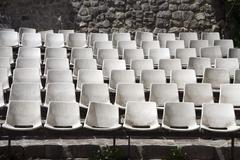 Old sittings of amphitheatre's stand Stock Photos