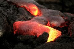 Hawaii lava flow, molten lava closeup - stock photo