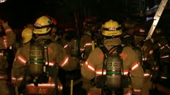 Large Group Of Firefighters Stock Footage