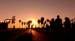 Sunset Beach 04 Basketball Silhouette Venice California Stock Footage