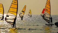 Sailboard Windsurfing Race Finish Line Stock Footage