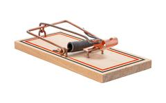 mousetrap isolated - stock photo
