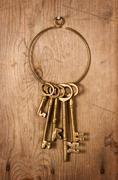 old brass keys - stock photo