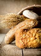 bread, wheat and basket - stock photo