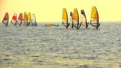 Sailboard Windsurfing Race Start Stock Footage